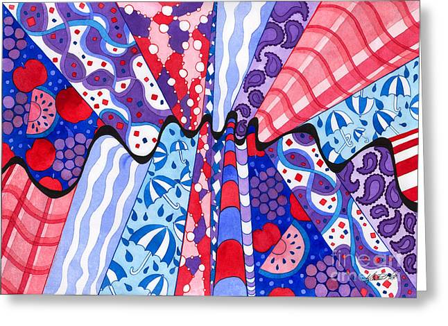 Paisley Blue Fabric Greeting Cards - Wrinkle in the Fabrics of Space Time Greeting Card by Kristen Fox