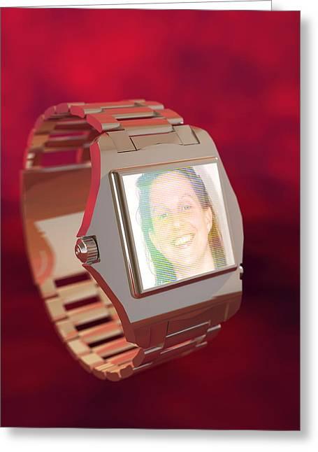 Wrist Watch Greeting Cards - Wrist Watch Video Phone, Computer Artwork Greeting Card by Christian Darkin