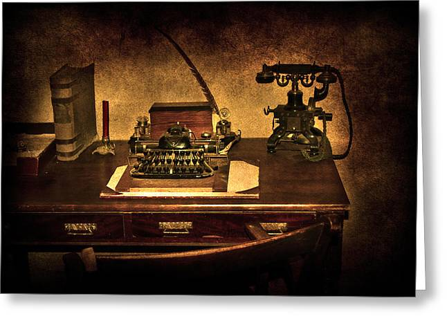 Press Box Greeting Cards - Writers Desk Greeting Card by Svetlana Sewell