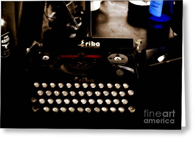 Antique Typewriter Greeting Cards - Writing Back to the German Forties Greeting Card by Steven  Digman