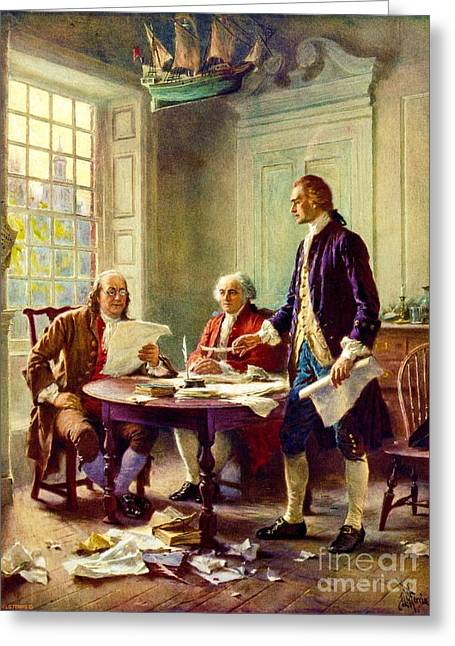 Declaration Of Independence Paintings Greeting Cards - Writing Declaration of Independence Greeting Card by Pg Reproductions