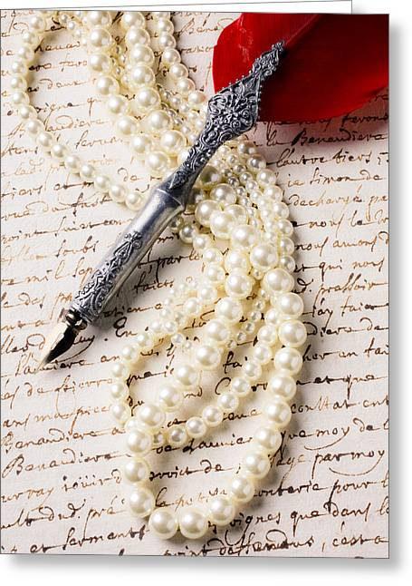 Writings Greeting Cards - Writing pen and perals  Greeting Card by Garry Gay