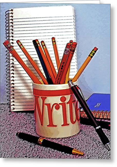 Pen And Paper Digital Art Greeting Cards - Writing Still Life 1 Greeting Card by Steve Ohlsen