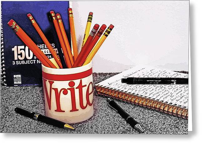 Pen And Paper Digital Art Greeting Cards - Writing Still Life 2 Greeting Card by Steve Ohlsen