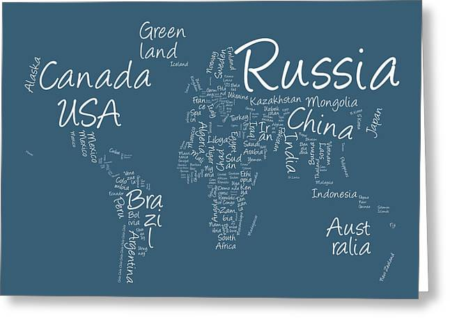 World Map Print Greeting Cards - Writing Text Map of the World Map Greeting Card by Michael Tompsett