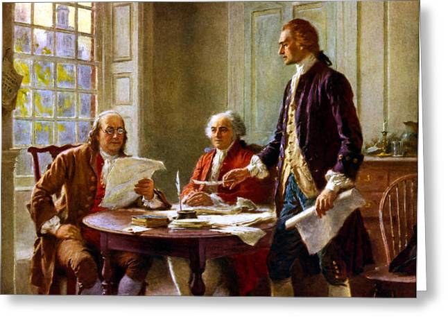 Writing The Declaration of Independence Greeting Card by War Is Hell Store