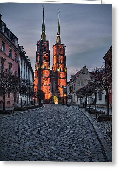 Cobblestone Greeting Cards - Wroclaw Cathedral Greeting Card by Sebastian Musial
