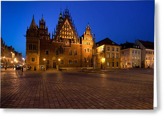 Cobblestones Greeting Cards - Wroclaw Town Hall At Night Greeting Card by Sebastian Musial