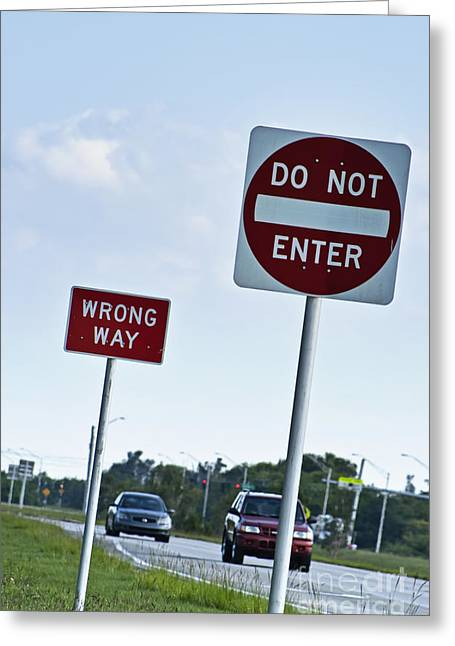Mistake Greeting Cards - Wrong way  Greeting Card by Blink Images