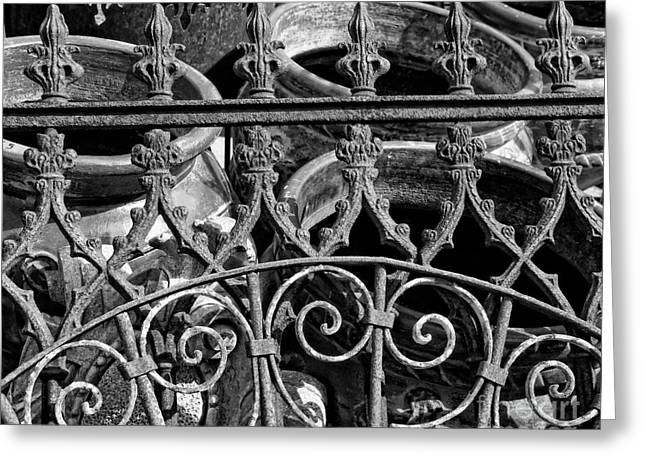 Wrought Iron Gate And Pots Black And White Greeting Card by Kathleen K Parker