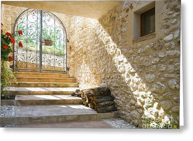 Wrought Iron Gate And Stairs Greeting Card by Andersen Ross