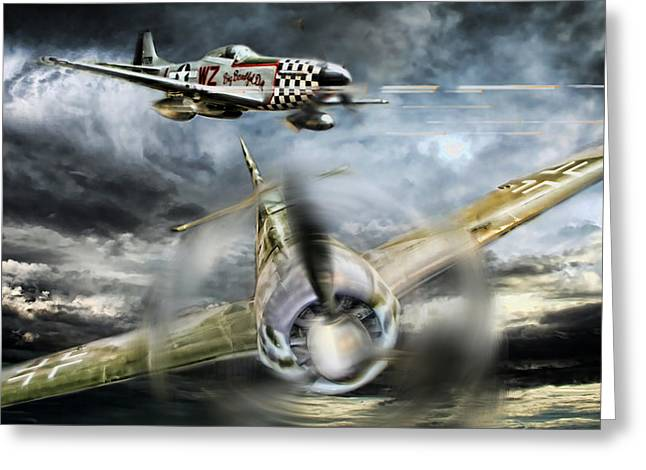 Mustang Fighter Greeting Cards - Wulf Hunt Greeting Card by Peter Chilelli