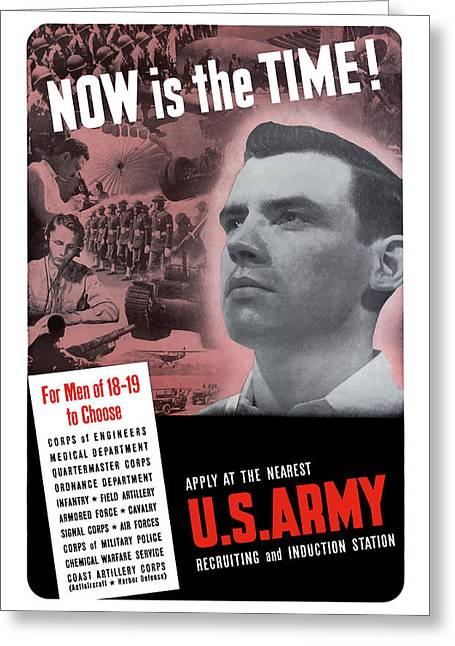 Army Recruiting Greeting Cards - WW2 Army Recruiting Poster Greeting Card by War Is Hell Store