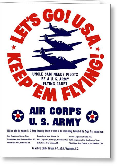 Air War Greeting Cards - WW2 US Army Air Corps Greeting Card by War Is Hell Store