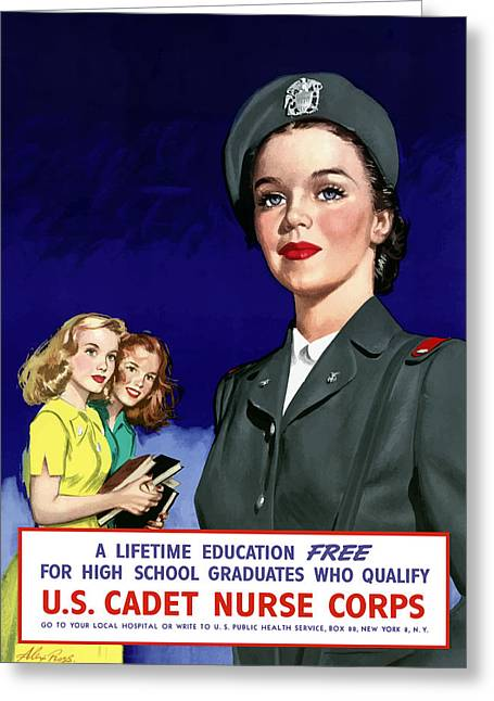 Nurses Greeting Cards - WW2 US Cadet Nurse Corps Greeting Card by War Is Hell Store