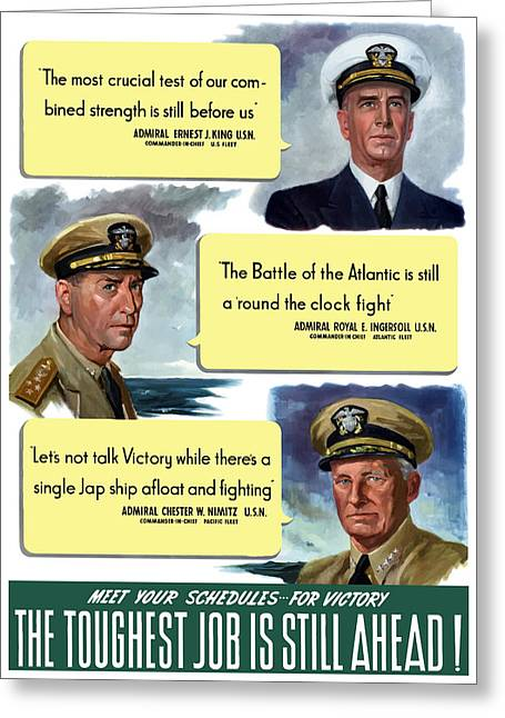 Us Navy Greeting Cards - WW2 US Navy Admirals Greeting Card by War Is Hell Store