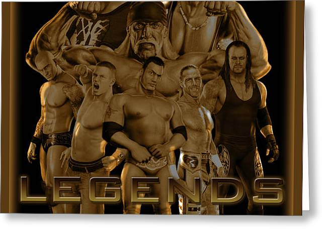 WWE Legends by GBS Greeting Card by Anibal Diaz