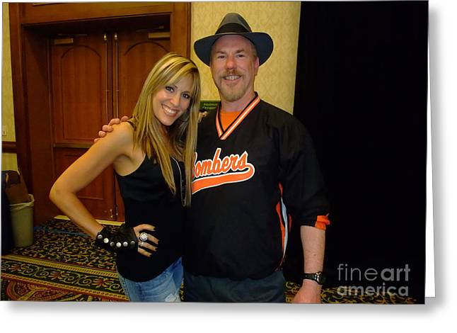 Announcer Greeting Cards - WWE Ring Announcer Lilian Garcia and myself Greeting Card by Jim Fitzpatrick