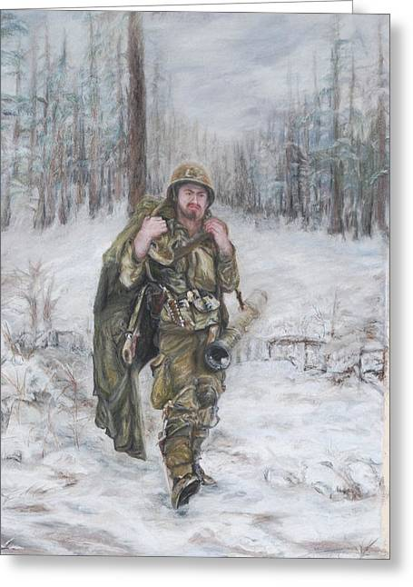 Uniform Pastels Greeting Cards - WWII 82nd Airborne Paratrooper Greeting Card by Phyllis Barrett