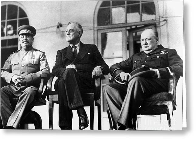 Tehran Greeting Cards - Wwii: Tehran Conference Greeting Card by Granger