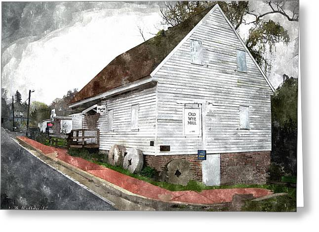 Old Street Greeting Cards - Wye Mill - Water Color Effect Greeting Card by Brian Wallace