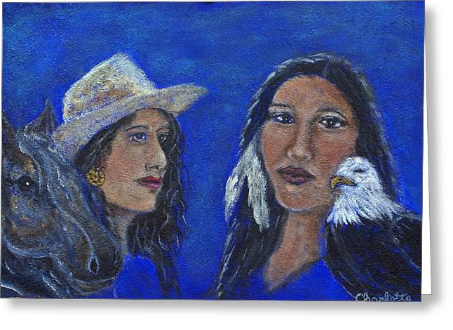 The Art With A Heart Greeting Cards - Wynonna and Onawa The Feminine Power and Wisdom Unite Greeting Card by The Art With A Heart By Charlotte Phillips