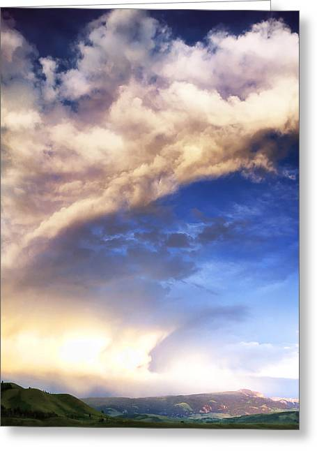 Mid West Landscape Art Greeting Cards - Wyoming Clouds Greeting Card by Edward Mendes