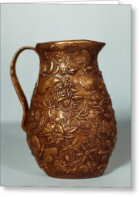 Grass Reliefs Greeting Cards - Wyoming Wildflowers Bronze Pitcher - another view Greeting Card by Dawn Senior-Trask