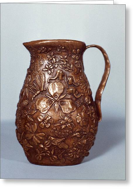Grass Reliefs Greeting Cards - Wyoming Wildflowers Bronze Pitcher Greeting Card by Dawn Senior-Trask