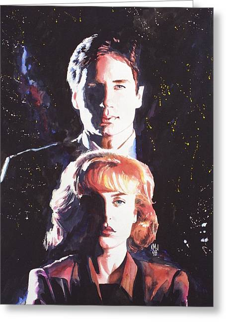 Television Paintings Greeting Cards - X-Files Greeting Card by Ken Meyer jr