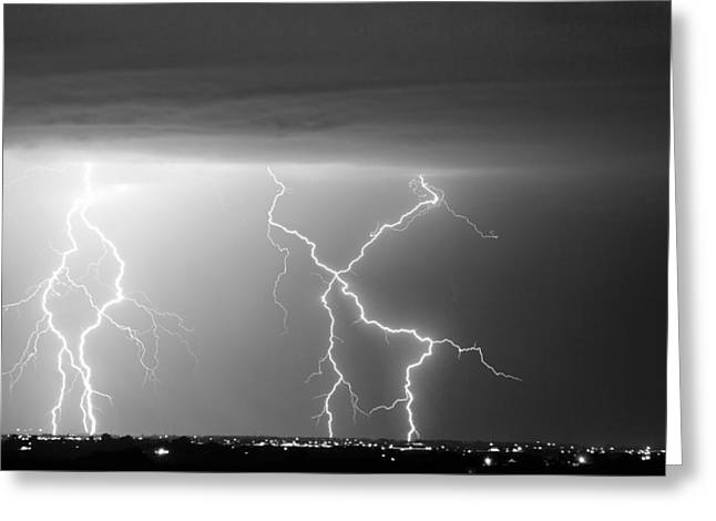 Images Lightning Greeting Cards - X In The Sky in Black and White Greeting Card by James BO  Insogna