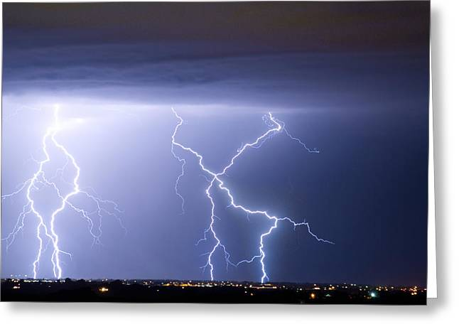 Lightning Bolt Pictures Greeting Cards - X In The Sky Greeting Card by James BO  Insogna