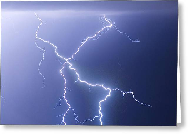 City Lights Greeting Cards - X Lightning Bolt In The Sky Greeting Card by James BO  Insogna