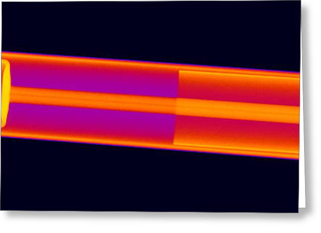 Helium Greeting Cards - X-ray Of A Laser Tube Greeting Card by Ted Kinsman