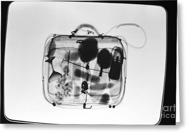 Airline Industry Greeting Cards - X-ray Of Suitcase Greeting Card by Science Source