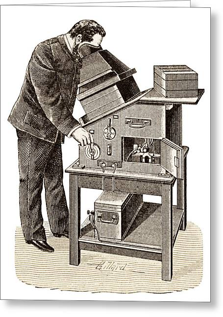Eugene Ducretet Greeting Cards - X-ray Viewing Machine, 1895 Greeting Card by Sheila Terry