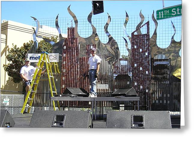 City Lights Sculptures Greeting Cards - Xfest Modesto Ca. Stage Greeting Card by Steve Mudge
