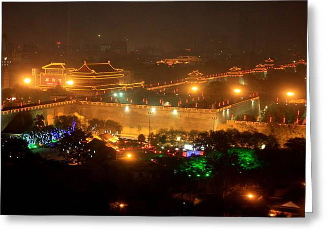 City Lights Greeting Cards - Xian City Lights Greeting Card by Carol Groenen