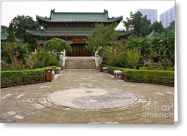 Xi'an Temple Garden Greeting Card by Carol Groenen