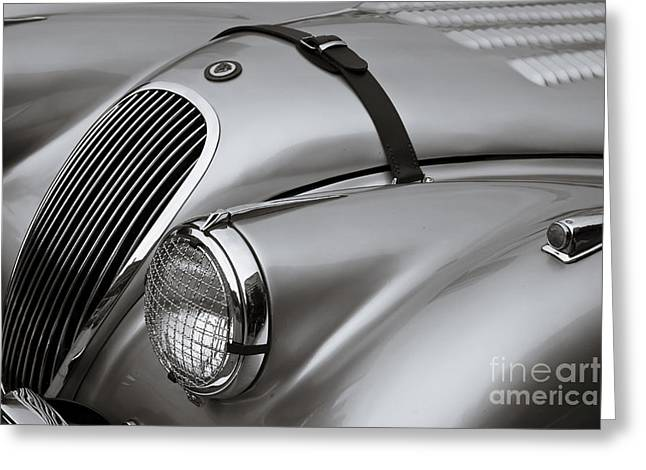 Antique Automobiles Photographs Greeting Cards - Xk 120 Greeting Card by Dennis Hedberg