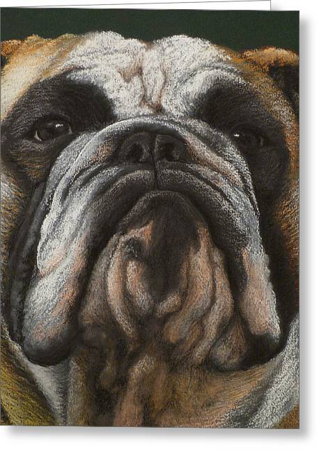 Guard Dog Pastels Greeting Cards - Ya wanna piece a me Greeting Card by Norm Holmberg
