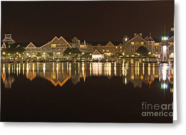 Reflection Pyrography Greeting Cards - Yacht Club Villas - Walt Disney World Greeting Card by AK Photography