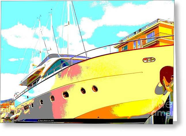 Yachting Mixed Media Greeting Cards - Yacht dry docking Greeting Card by Rogerio Mariani