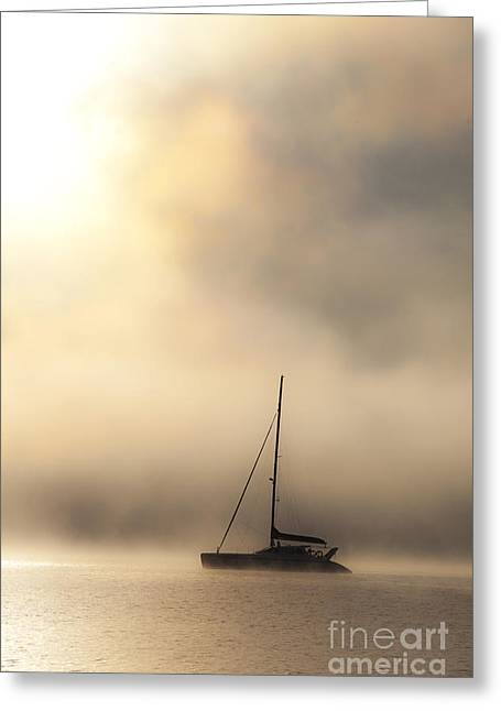 Morning Mist Images Greeting Cards - Yacht in mist Greeting Card by Sheila Smart