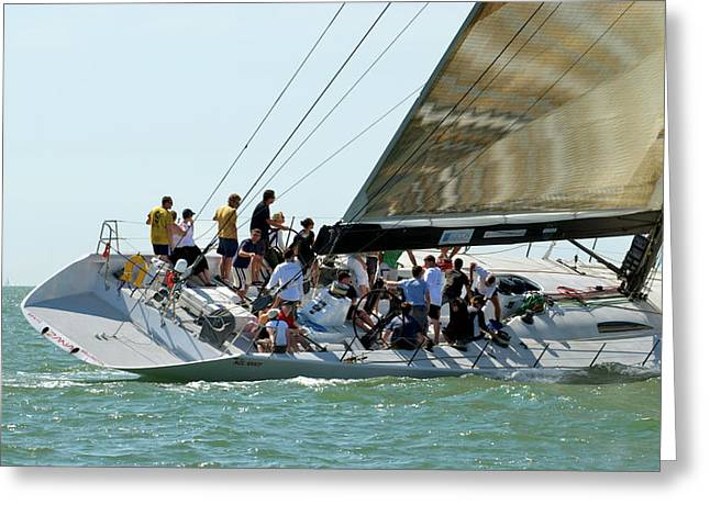 Isle Wight Festival Greeting Cards - Yacht racing at Cowes Week Greeting Card by Gerry Walden