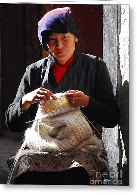 Yak Wool Sweater Weaver Greeting Card by Marko Moudrak