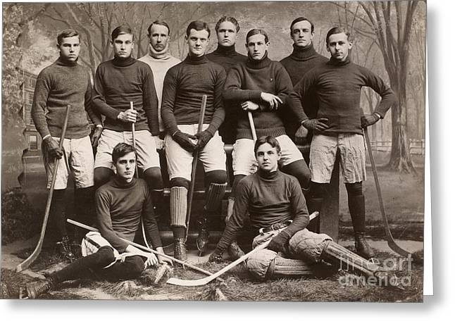 1901 Greeting Cards - Yale Ice Hockey Team, 1901 Greeting Card by Granger