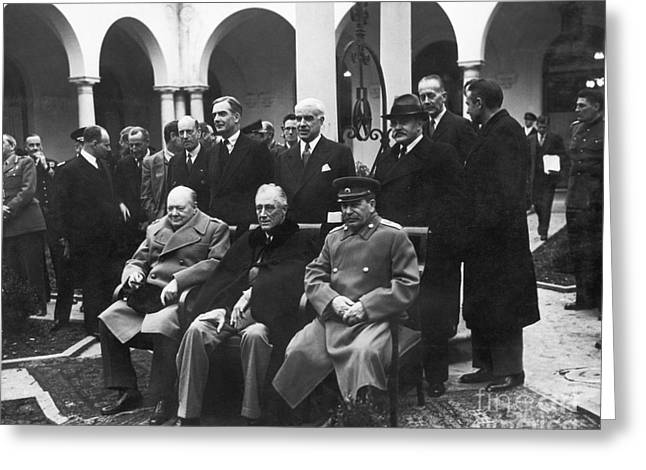 Franklin Roosevelt Greeting Cards - Yalta Conference, 1945 Greeting Card by Granger
