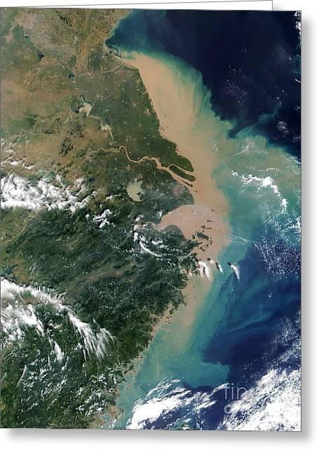 Chang Greeting Cards - Yangtze Delta Greeting Card by NASA / Science Source