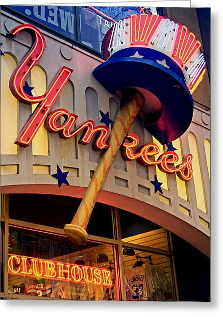 Clubhouse Greeting Cards - Yankee Clubhouse Greeting Card by Joann Vitali